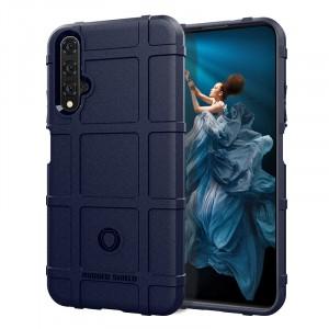 Силиконовый матовый непрозрачный чехол с текстурным покрытием Клетка для Huawei Honor 20  Синий