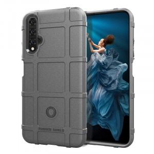 Силиконовый матовый непрозрачный чехол с текстурным покрытием Клетка для Huawei Honor 20  Серый