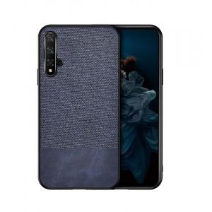 Силиконовый матовый непрозрачный чехол с текстурным покрытием Ткань и Кожа для Huawei Honor 20 Синий