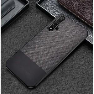 Силиконовый матовый непрозрачный чехол с текстурным покрытием Ткань и Кожа для Huawei Honor 20 Серый
