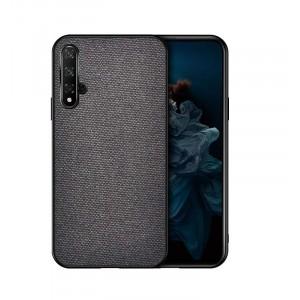 Силиконовый матовый непрозрачный чехол с текстурным покрытием Ткань для Huawei Honor 20 Серый