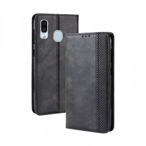 Винтажный чехол портмоне подставка на силиконовой основе с отсеком для карт для Samsung Galaxy A30  Черный