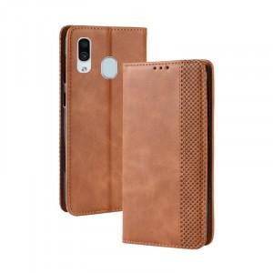 Винтажный чехол портмоне подставка на силиконовой основе с отсеком для карт для Samsung Galaxy A30  Бежевый