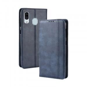 Винтажный чехол портмоне подставка на силиконовой основе с отсеком для карт для Samsung Galaxy A30  Синий