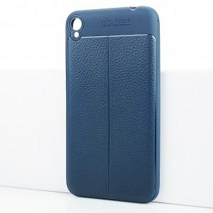 Силиконовый матовый непрозрачный чехол с текстурным покрытием Кожа для Asus ZenFone Live Синий