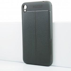 Силиконовый матовый непрозрачный чехол с текстурным покрытием Кожа для Asus ZenFone Live Серый