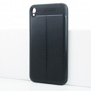 Силиконовый матовый непрозрачный чехол с текстурным покрытием Кожа для Asus ZenFone Live Черный