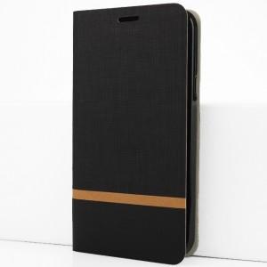 Чехол горизонтальная книжка подставка на силиконовой основе с отсеком для карт и тканевым покрытием для Samsung Galaxy A50 Черный