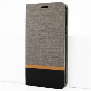 Чехол горизонтальная книжка подставка на силиконовой основе с отсеком для карт и тканевым покрытием для Samsung Galaxy A50 Серый