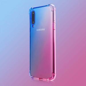 Силиконовый глянцевый полупрозрачный градиентный чехол с усиленными углами для Samsung Galaxy A50  Синий