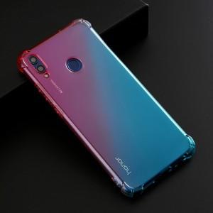 Силиконовый глянцевый полупрозрачный градиентный чехол с усиленными углами для Huawei Honor 8X  Красный