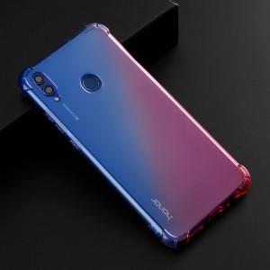 Силиконовый глянцевый полупрозрачный градиентный чехол с усиленными углами для Huawei Honor 8X  Синий