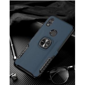 Противоударный двухкомпонентный силиконовый матовый непрозрачный чехол с поликарбонатными вставками экстрим защиты с встроенным кольцом-подставкой и текстурным покрытием Кожа для Huawei Honor 8X Синий