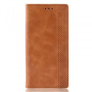 Винтажный чехол портмоне подставка на силиконовой основе с отсеком для карт для Samsung Galaxy A10  Коричневый