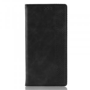 Винтажный чехол портмоне подставка на силиконовой основе с отсеком для карт для Samsung Galaxy A10  Черный