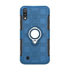 Противоударный двухкомпонентный силиконовый матовый непрозрачный чехол с поликарбонатными вставками экстрим защиты с встроенным кольцом-подставкой и текстурным покрытием Узоры для Samsung Galaxy A10  Синий