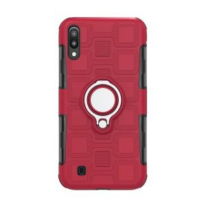 Противоударный двухкомпонентный силиконовый матовый непрозрачный чехол с поликарбонатными вставками экстрим защиты с встроенным кольцом-подставкой и текстурным покрытием Узоры для Samsung Galaxy A10  Красный