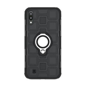 Противоударный двухкомпонентный силиконовый матовый непрозрачный чехол с поликарбонатными вставками экстрим защиты с встроенным кольцом-подставкой и текстурным покрытием Узоры для Samsung Galaxy A10  Черный