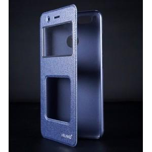 Чехол горизонтальная книжка подставка на пластиковой основе с окном вызова и полоcой свайпа для Xiaomi RedMi Note 7 Синий