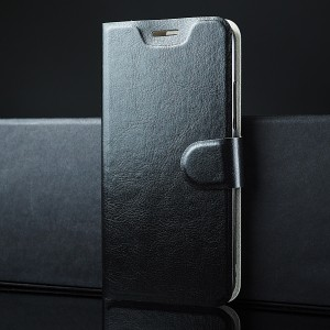 Глянцевый водоотталкивающий чехол горизонтальная книжка подставка на силиконовой основе с отсеком для карт на магнитной защелке для Alcatel Idol 5S Черный