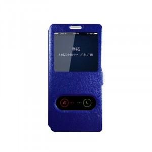 Чехол флип подставка текстура Золото на пластиковой основе с окном вызова и полоcой свайпа для Samsung Galaxy S8  Синий