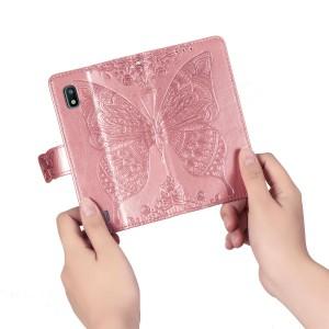 Чехол портмоне подставка текстура Узоры на силиконовой основе с отсеком для карт на магнитной защелке для Samsung Galaxy A10  Розовый