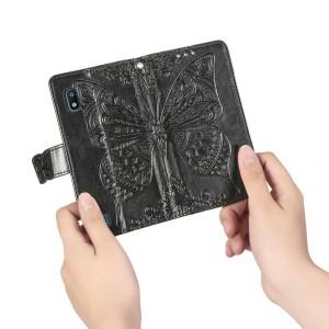 Чехол портмоне подставка текстура Узоры на силиконовой основе с отсеком для карт на магнитной защелке для Samsung Galaxy A10  Черный