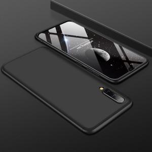 Двухкомпонентный сборный двухцветный пластиковый матовый чехол для Samsung Galaxy A70  Черный