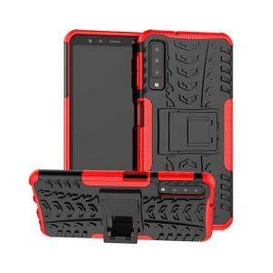 Противоударный двухкомпонентный силиконовый матовый непрозрачный чехол с нескользящими гранями и поликарбонатными вставками экстрим защиты с встроенной ножкой-подставкой и текстурным покрытием Шина для Samsung Galaxy A70 Красный