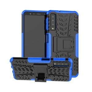 Противоударный двухкомпонентный силиконовый матовый непрозрачный чехол с нескользящими гранями и поликарбонатными вставками экстрим защиты с встроенной ножкой-подставкой и текстурным покрытием Шина для Samsung Galaxy A70 Синий