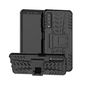 Противоударный двухкомпонентный силиконовый матовый непрозрачный чехол с нескользящими гранями и поликарбонатными вставками экстрим защиты с встроенной ножкой-подставкой и текстурным покрытием Шина для Samsung Galaxy A70 Черный