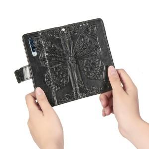 Чехол портмоне подставка текстура Бабочка на силиконовой основе с отсеком для карт на дизайнерской магнитной защелке для Samsung Galaxy A70 Черный
