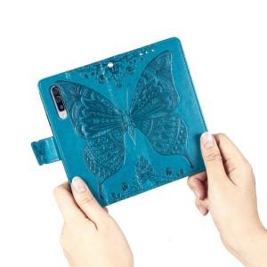 Чехол портмоне подставка текстура Бабочка на силиконовой основе с отсеком для карт на дизайнерской магнитной защелке для Samsung Galaxy A70 Синий