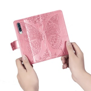 Чехол портмоне подставка текстура Бабочка на силиконовой основе с отсеком для карт на дизайнерской магнитной защелке для Samsung Galaxy A70 Розовый