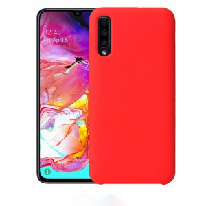Силиконовый матовый непрозрачный чехол с нескользящим софт-тач покрытием для Samsung Galaxy A70  Красный