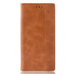 Винтажный чехол портмоне подставка текстура Узоры на силиконовой основе с отсеком для карт для Samsung Galaxy A70  Коричневый