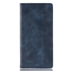 Винтажный чехол портмоне подставка текстура Узоры на силиконовой основе с отсеком для карт для Samsung Galaxy A70  Синий