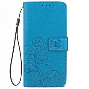 Чехол портмоне подставка текстура Цветы на силиконовой основе с отсеком для карт на магнитной защелке для Xiaomi RedMi Note 5  Синий