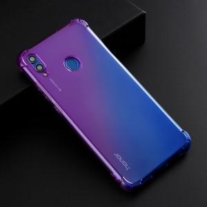 Силиконовый глянцевый полупрозрачный градиентный чехол с усиленными углами для Huawei Honor 10 Lite Фиолетовый