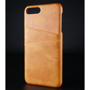 Чехол накладка текстурная отделка Кожа с отсеком для карт для Iphone 7/8 Plus Бежевый
