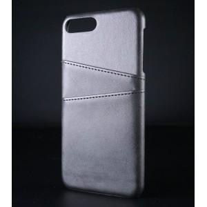 Чехол накладка текстурная отделка Кожа с отсеком для карт для Iphone 7/8 Plus Черный