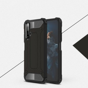 Противоударный двухкомпонентный силиконовый матовый непрозрачный чехол с поликарбонатными вставками экстрим защиты с текстурным покрытием Металлик для Huawei Honor 20  Черный