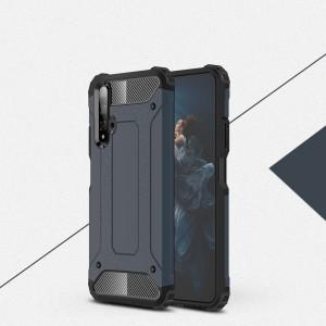 Противоударный двухкомпонентный силиконовый матовый непрозрачный чехол с поликарбонатными вставками экстрим защиты с текстурным покрытием Металлик для Huawei Honor 20  Синий