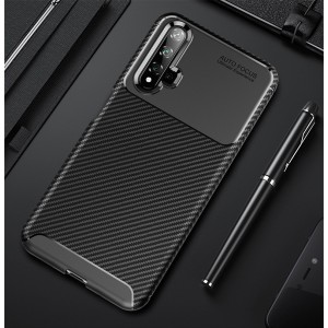 Силиконовый матовый непрозрачный чехол с текстурным покрытием Карбон для Huawei Honor 20  Черный