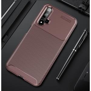 Силиконовый матовый непрозрачный чехол с текстурным покрытием Карбон для Huawei Honor 20  Бордовый