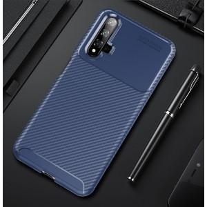 Силиконовый матовый непрозрачный чехол с текстурным покрытием Карбон для Huawei Honor 20  Синий