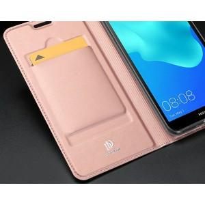 Чехол горизонтальная книжка подставка на силиконовой основе с отсеком для карт для Huawei Honor 20  Розовый