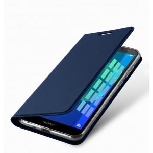Чехол горизонтальная книжка подставка на силиконовой основе с отсеком для карт для Huawei Honor 20  Синий
