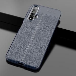 Силиконовый матовый непрозрачный чехол с текстурным покрытием Кожа для Huawei Honor 20  Синий