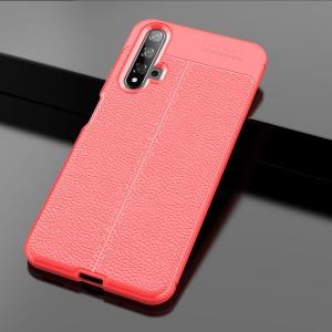 Силиконовый матовый непрозрачный чехол с текстурным покрытием Кожа для Huawei Honor 20  Красный